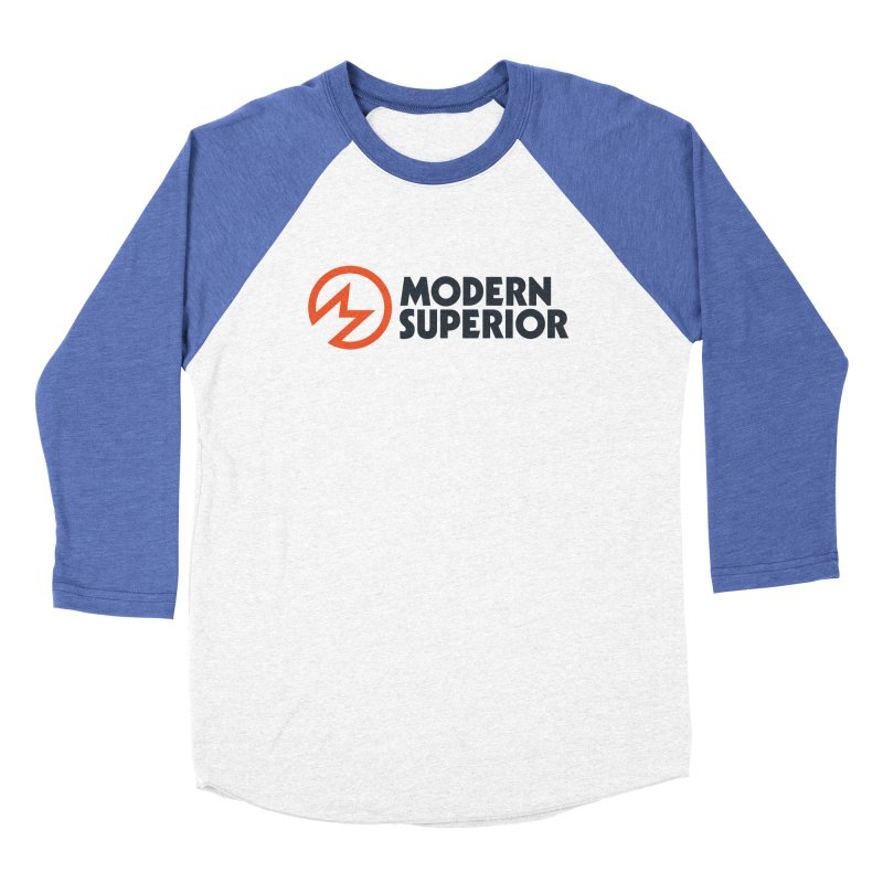 Modern Superior Logo in Women's Baseball Triblend Longsleeve T-Shirt Tri-Blue Sleeves by Modern Superior