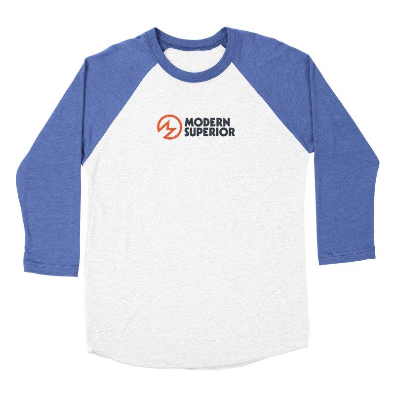 Modern Superior Logo in Women's Baseball Triblend Longsleeve T-Shirt Tri-Blue Sleeves by Modern Superior