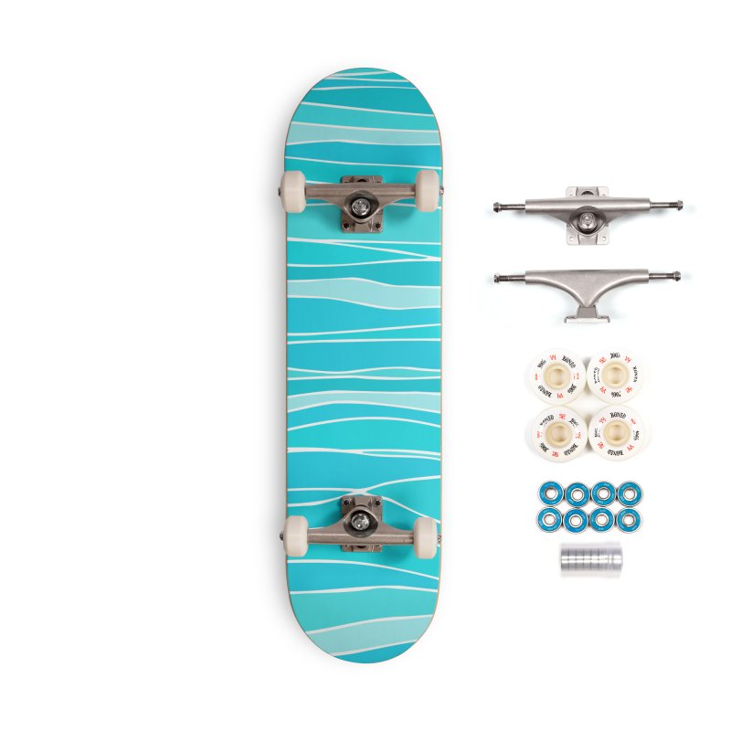 Caribbean Sea Abstract Stripes Accessories Skateboard by Modern Tropical's Shop