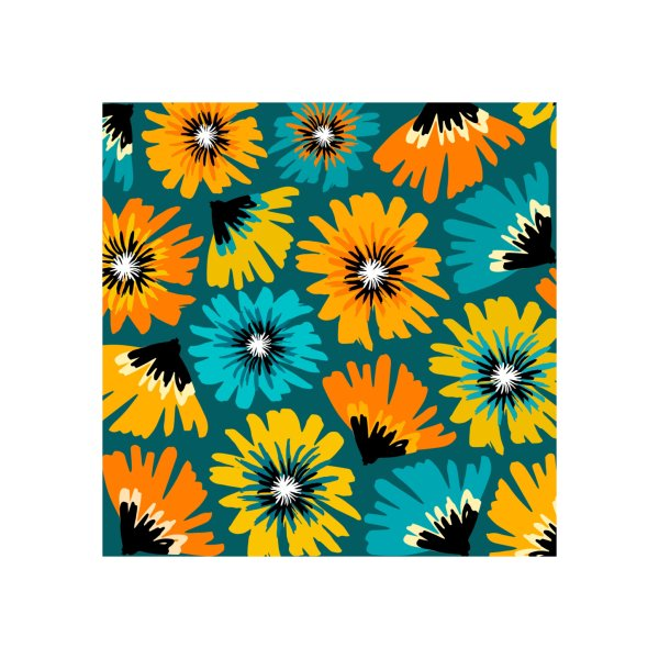 image for Retro Teal Flower Pattern