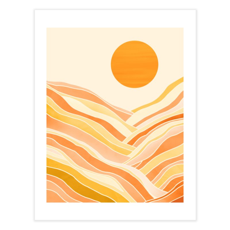 Golden Mountain Sunset Home Fine Art Print by Modern Tropical's Shop
