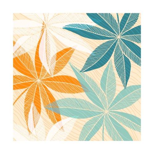 Design for Teal Orange Tropical Floral