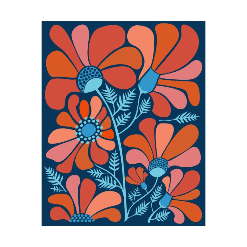 Red Blue Flowers by Modern Tropical's Shop