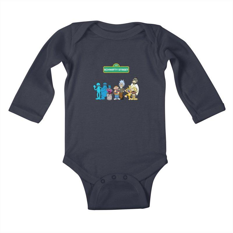 Schwifty Street Kids Baby Longsleeve Bodysuit by mokej's Artist Shop
