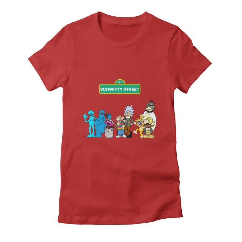 Schwifty Street Women's Fitted T-Shirt by mokej's Artist Shop