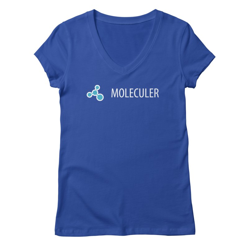Moleculer logo & text white (horizontal) Women's Regular V-Neck by Moleculer's Shop