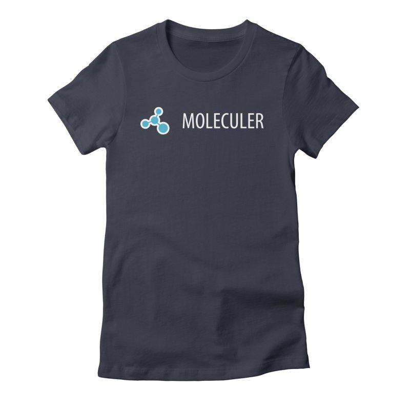 Moleculer logo & text white (horizontal) Women's Fitted T-Shirt by Moleculer's Shop