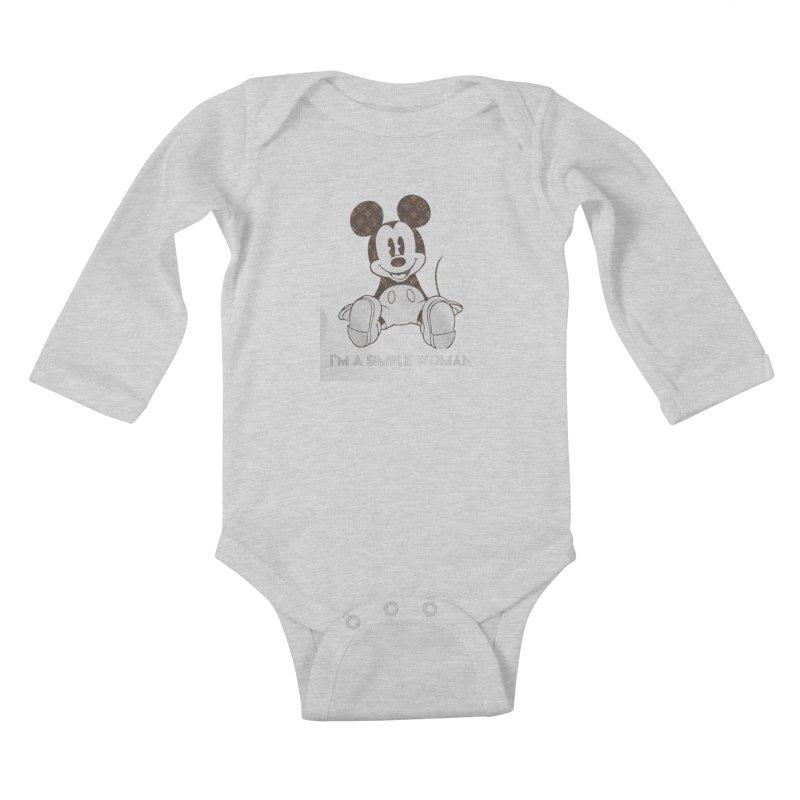 3160155a2c84 Mickey mouse louis vuitton I m a simple women shirt Kids Baby Longsleeve  Bodysuit by
