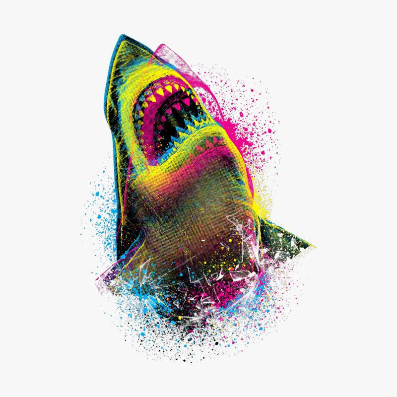 CMYK Sharkl Men's T-Shirt by moncheng's Artist Shop