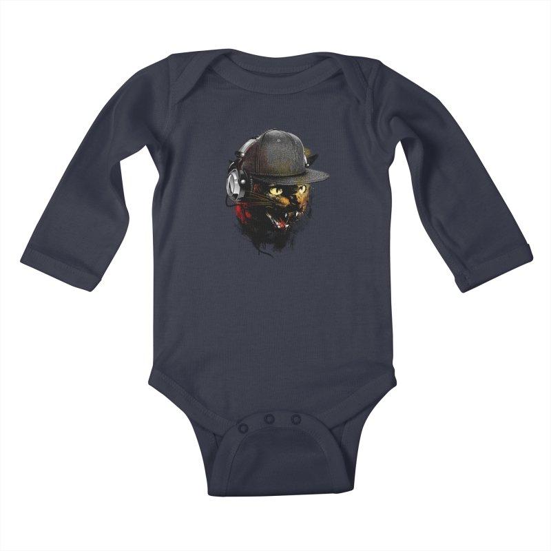 Dj Cat Kids Baby Longsleeve Bodysuit by moncheng's Artist Shop