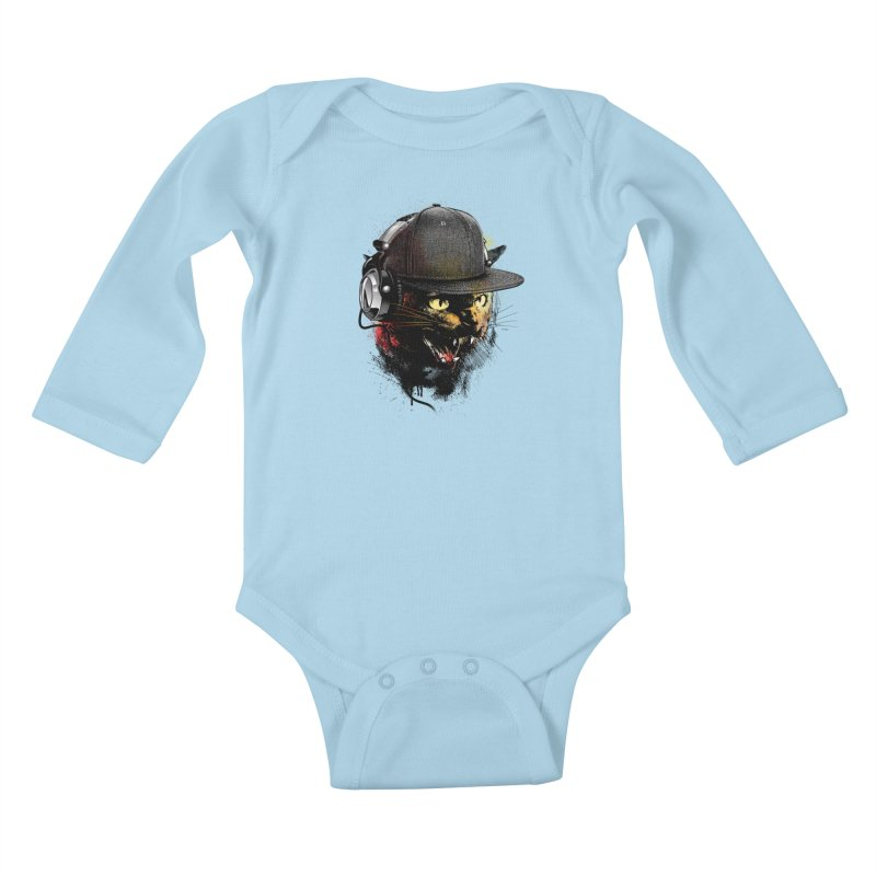 Dj Cat Kids Baby Longsleeve Bodysuit by moncheng's Artist Shop