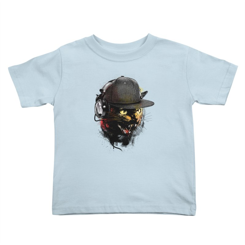 Dj Cat Kids Toddler T-Shirt by moncheng's Artist Shop
