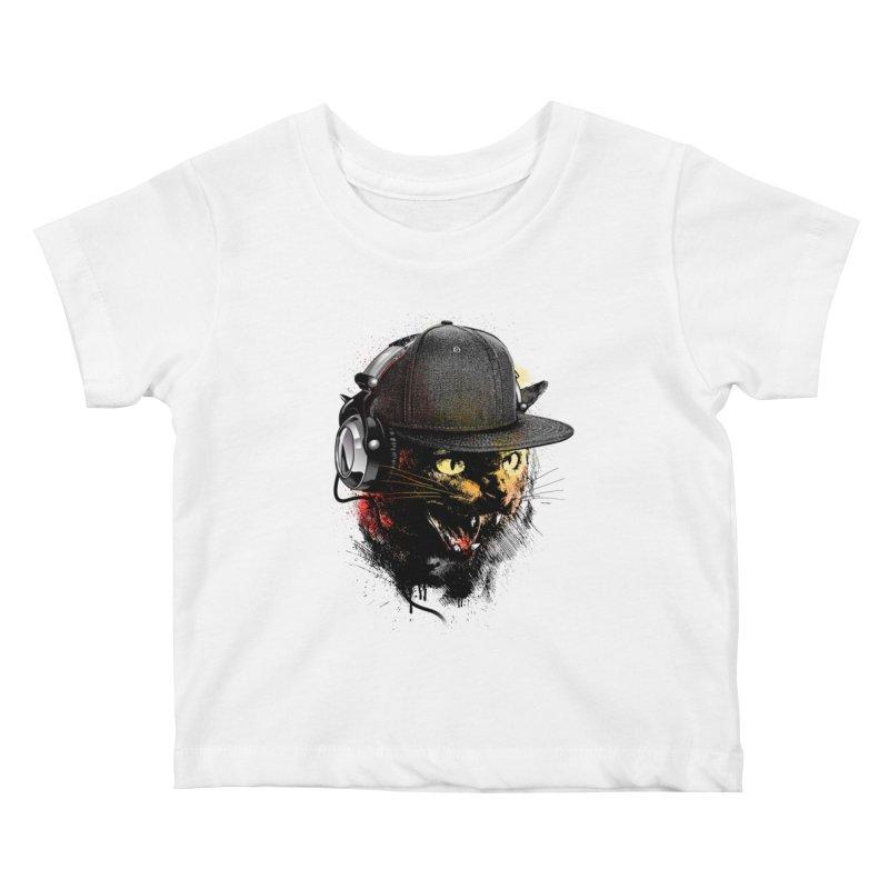 Dj Cat Kids Baby T-Shirt by moncheng's Artist Shop