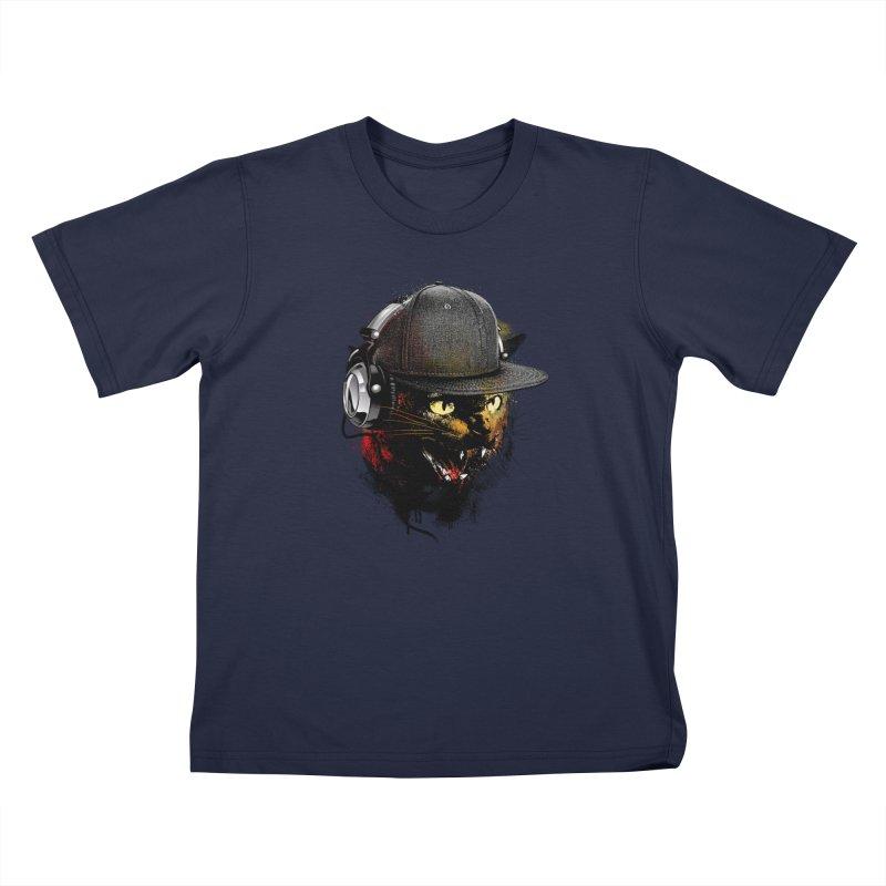 Dj Cat Kids Toddler T-Shirt by moncheng's Artist Shop