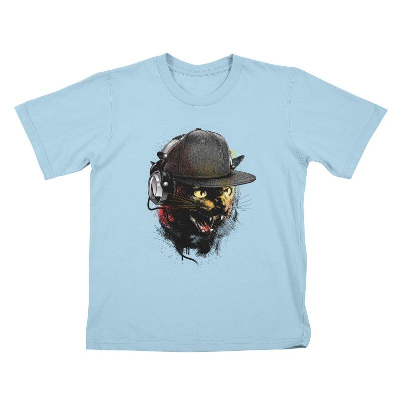 Dj Cat Kids T-Shirt by moncheng's Artist Shop