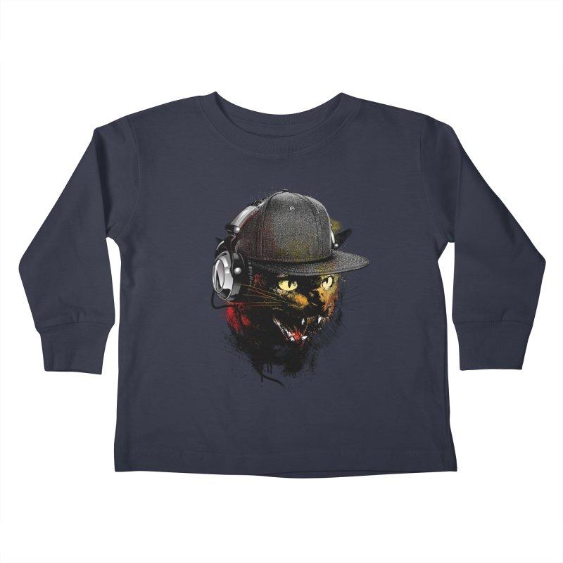 Dj Cat Kids Toddler Longsleeve T-Shirt by moncheng's Artist Shop