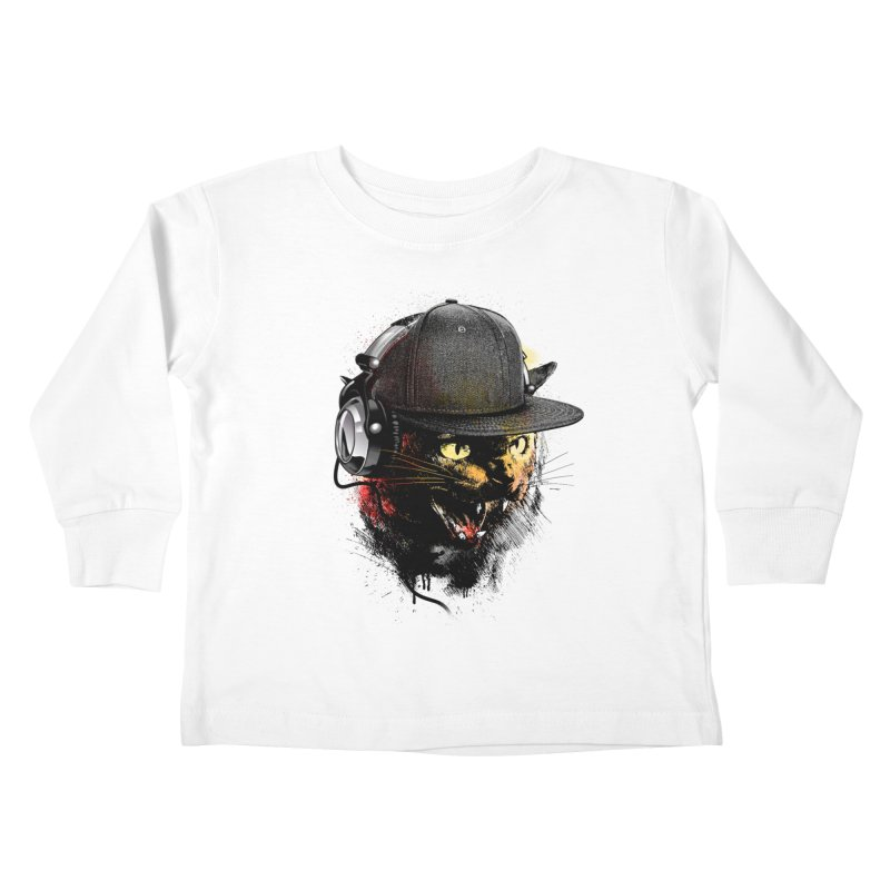 Dj Cat Kids Toddler Longsleeve T-Shirt by moncheng's Artist Shop