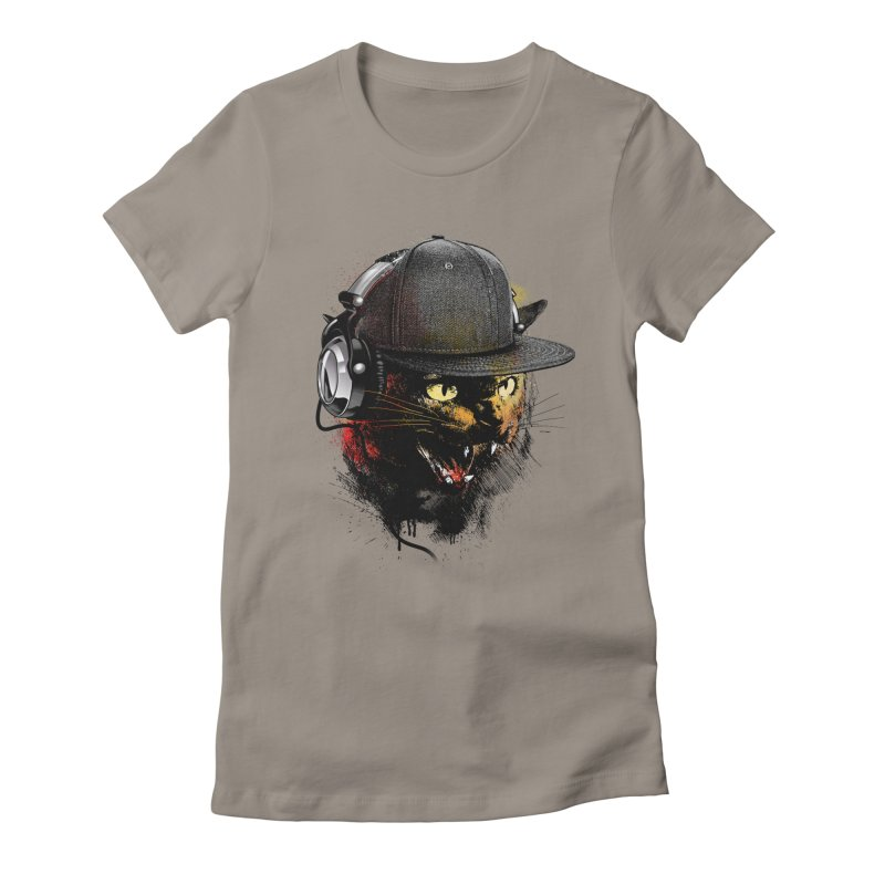 Dj Cat Women's Fitted T-Shirt by moncheng's Artist Shop