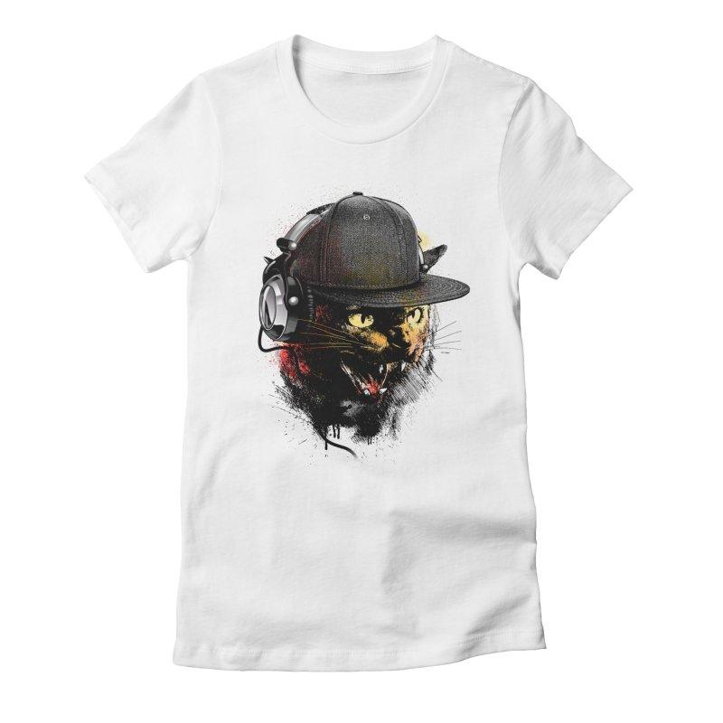 Dj Cat Women's Fitted T-Shirt by moncheng's Artist Shop