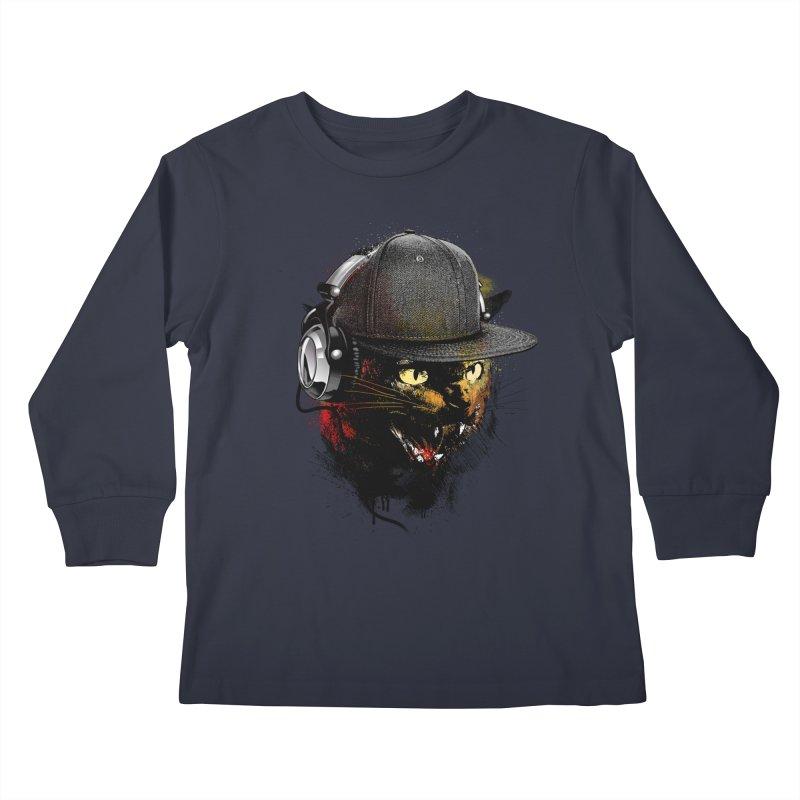 Dj Cat Kids Longsleeve T-Shirt by moncheng's Artist Shop