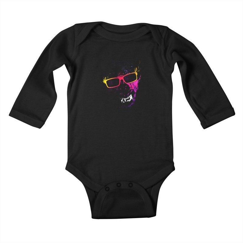 Splatter Wolves Kids Baby Longsleeve Bodysuit by moncheng's Artist Shop