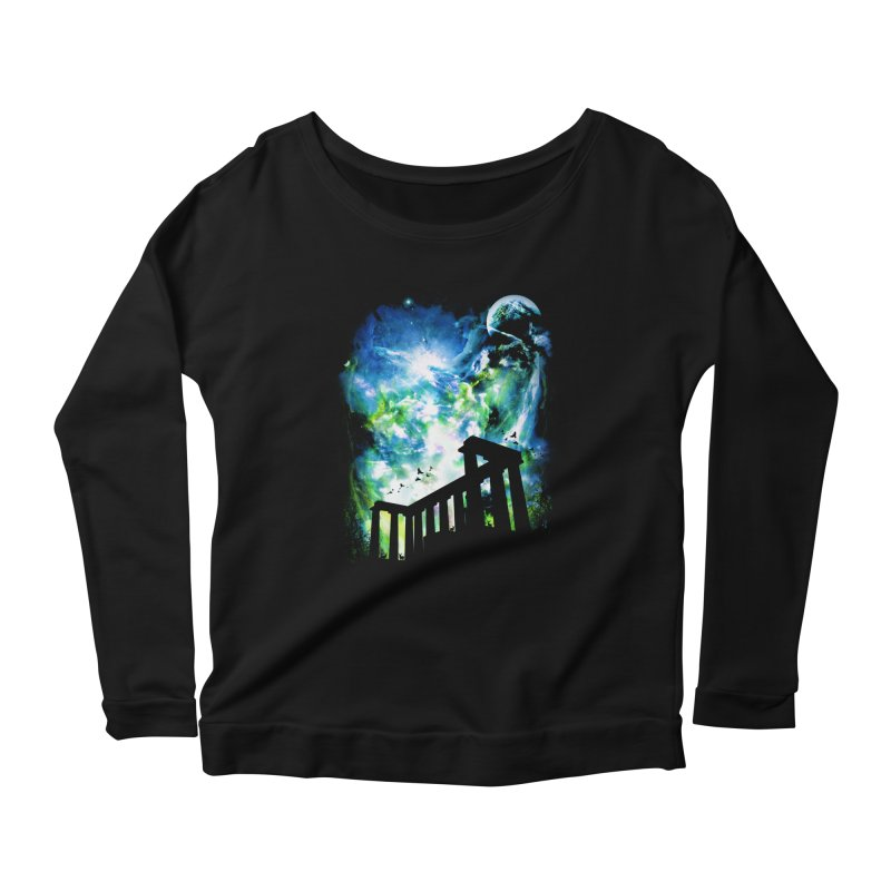 Aurora Night Women's Longsleeve Scoopneck  by moncheng's Artist Shop