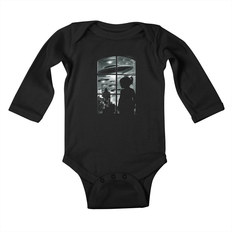 The Invasion (BW) Kids Baby Longsleeve Bodysuit by moncheng's Artist Shop