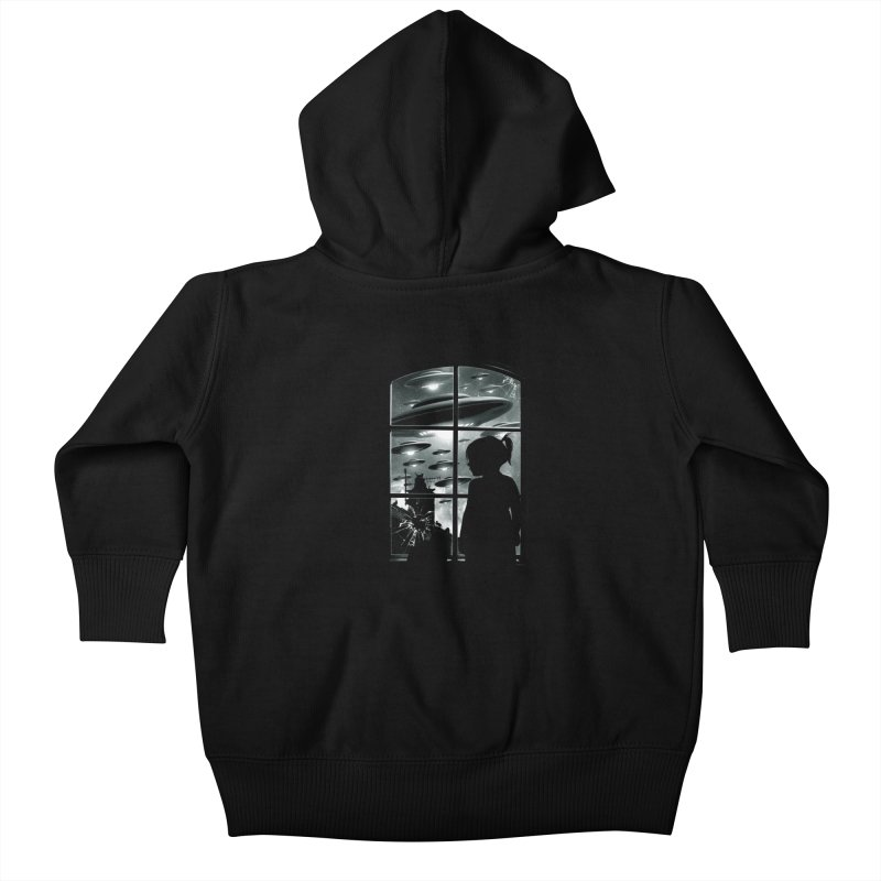 The Invasion (BW) Kids Baby Zip-Up Hoody by moncheng's Artist Shop