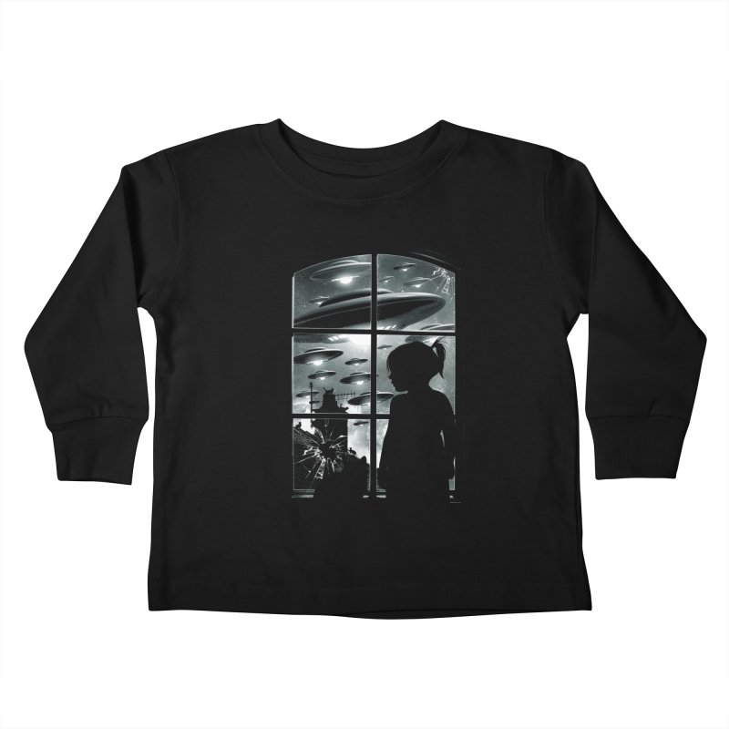 The Invasion (BW) Kids Toddler Longsleeve T-Shirt by moncheng's Artist Shop