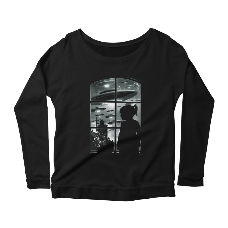The Invasion (BW) Women's Longsleeve Scoopneck  by moncheng's Artist Shop