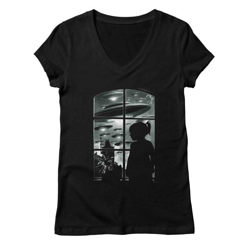 The Invasion (BW) Women's V-Neck by moncheng's Artist Shop