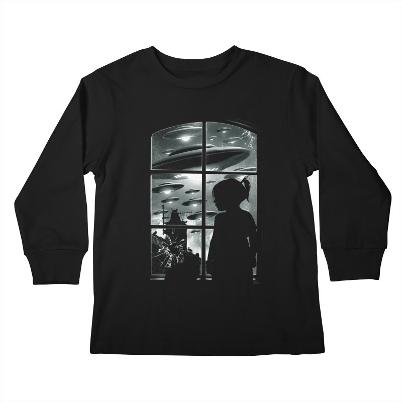 The Invasion (BW) Kids Longsleeve T-Shirt by moncheng's Artist Shop