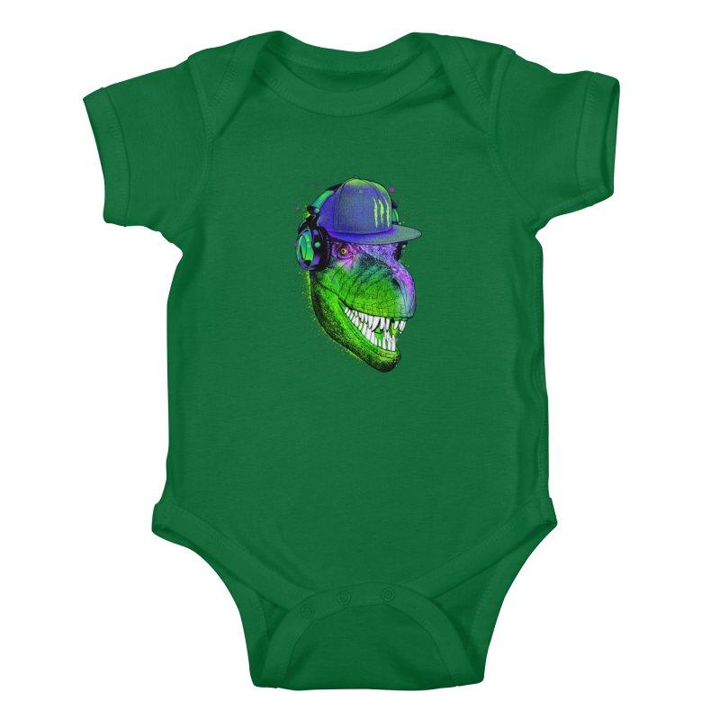 Dj T-Rex Kids Baby Bodysuit by moncheng's Artist Shop