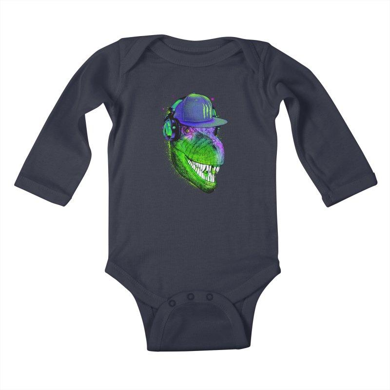 Dj T-Rex Kids Baby Longsleeve Bodysuit by moncheng's Artist Shop