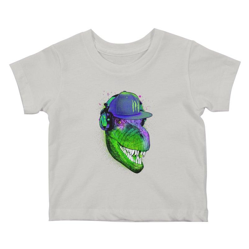 Dj T-Rex Kids Baby T-Shirt by moncheng's Artist Shop