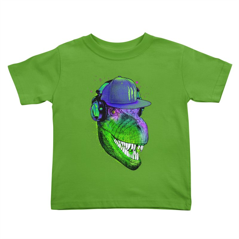 Dj T-Rex Kids Toddler T-Shirt by moncheng's Artist Shop