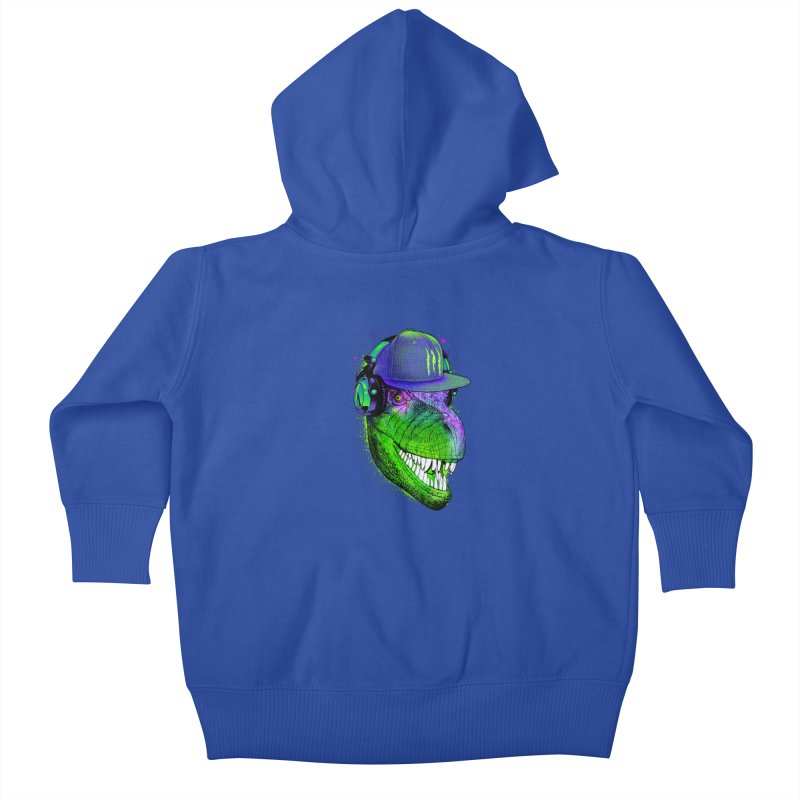 Dj T-Rex Kids Baby Zip-Up Hoody by moncheng's Artist Shop