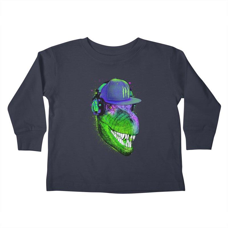 Dj T-Rex Kids Toddler Longsleeve T-Shirt by moncheng's Artist Shop