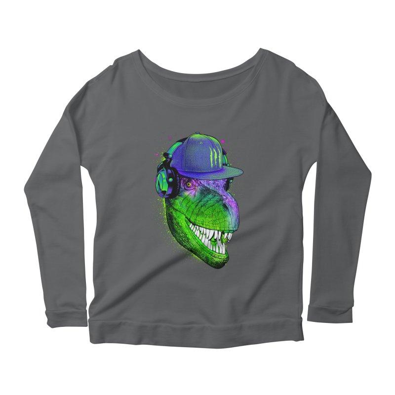 Dj T-Rex Women's Scoop Neck Longsleeve T-Shirt by moncheng's Artist Shop