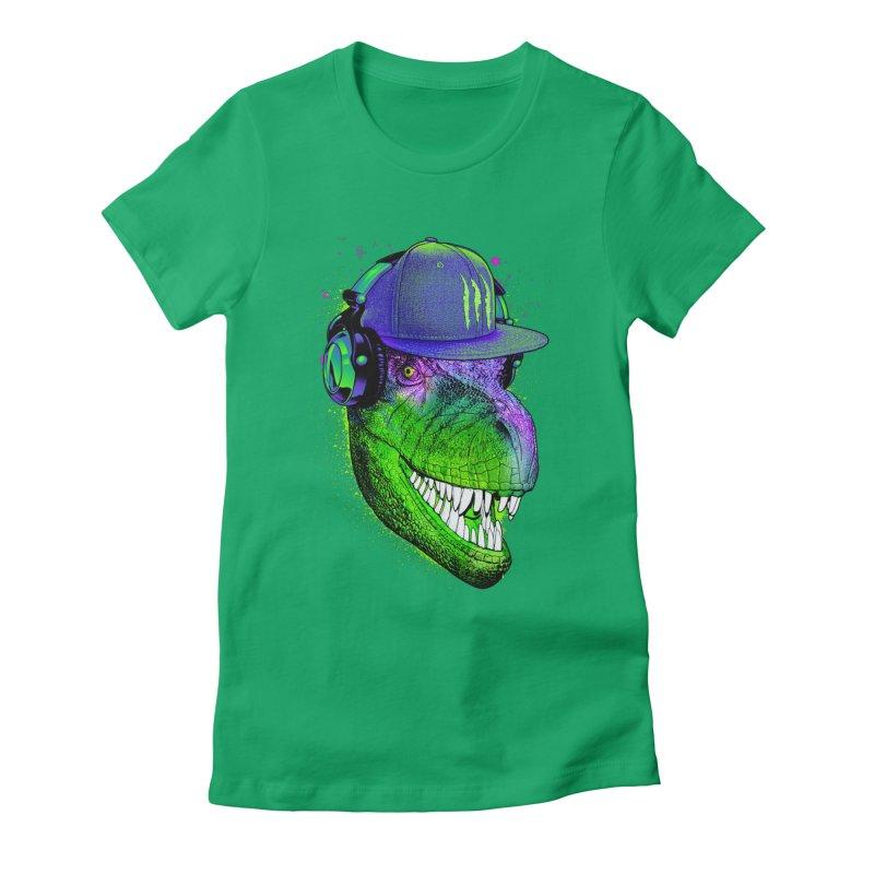 Dj T-Rex Women's Fitted T-Shirt by moncheng's Artist Shop