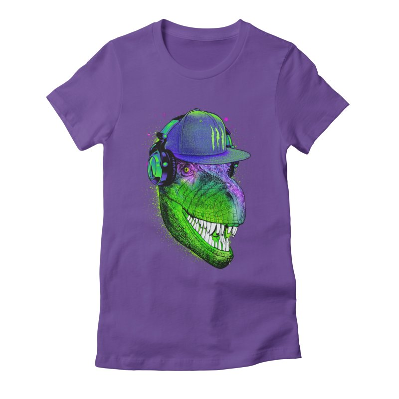 Dj T-Rex Women's Fitted T-Shirt by moncheng's Artist Shop