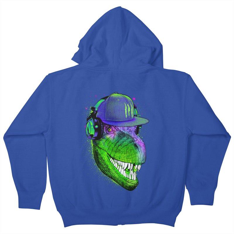 Dj T-Rex Kids Zip-Up Hoody by moncheng's Artist Shop