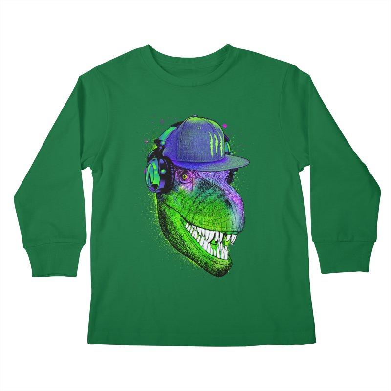 Dj T-Rex Kids Longsleeve T-Shirt by moncheng's Artist Shop