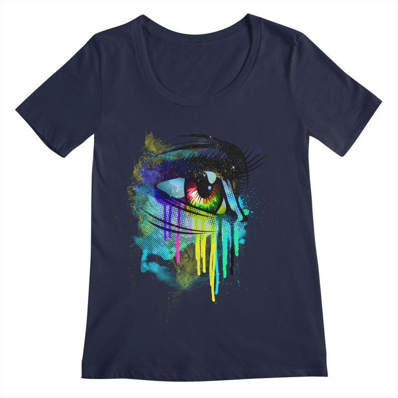 Tears of Colors Women's Regular Scoop Neck by moncheng's Artist Shop