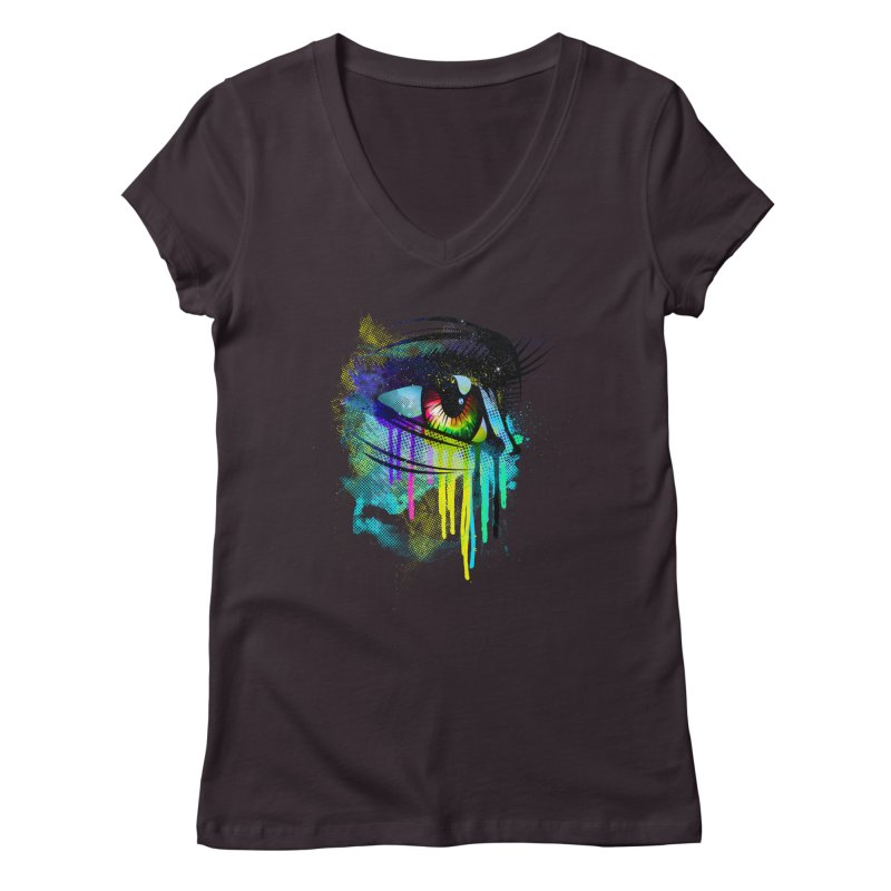 Tears of Colors Women's Regular V-Neck by moncheng's Artist Shop