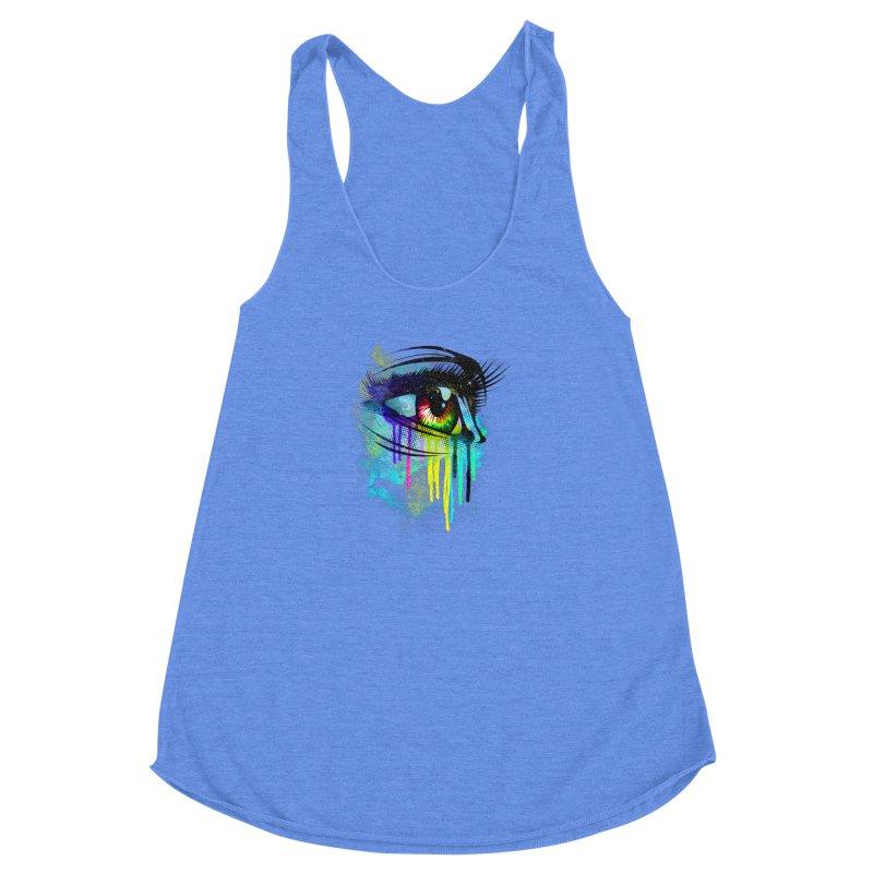 Tears of Colors Women's Racerback Triblend Tank by moncheng's Artist Shop