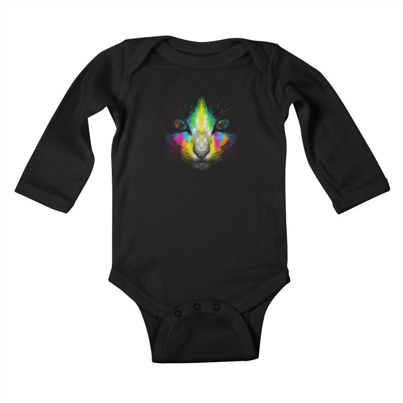 Technicolor Cat Kids Baby Longsleeve Bodysuit by moncheng's Artist Shop
