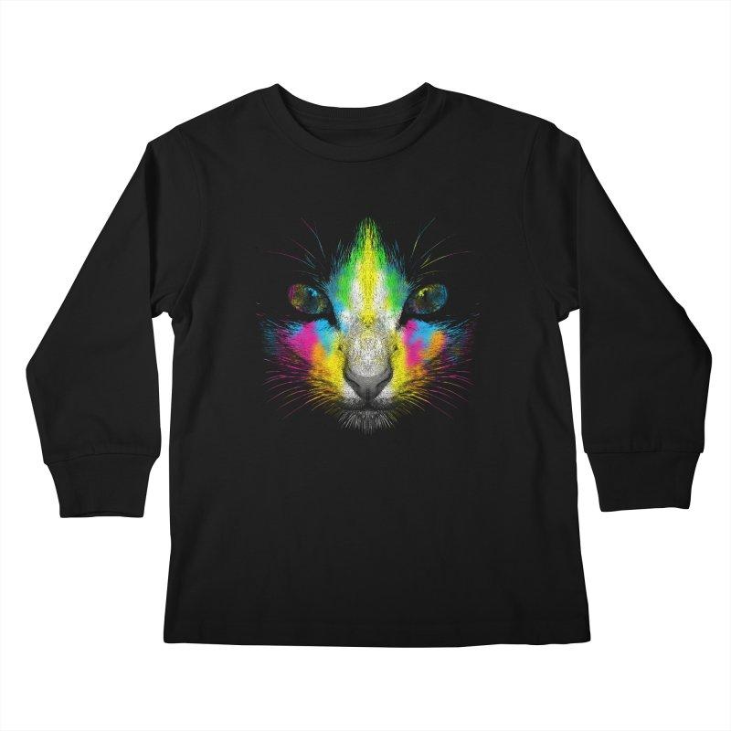 Technicolor Cat Kids Longsleeve T-Shirt by moncheng's Artist Shop