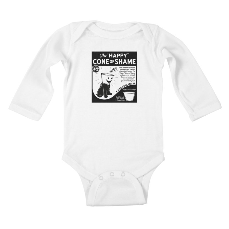 The Happy Cone of Shame Kids Baby Longsleeve Bodysuit by Andy Pitts Artist Shop