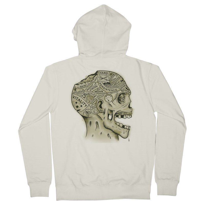 Zombie Phrenology Men's Zip-Up Hoody by Andy Pitts Artist Shop